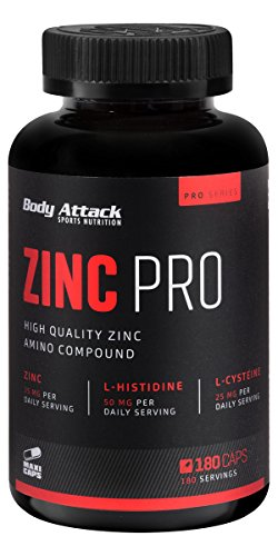 Body Attack Zinc PRO, Mineralstoff Zink mit Vitamin B + C, (180 Kapseln)