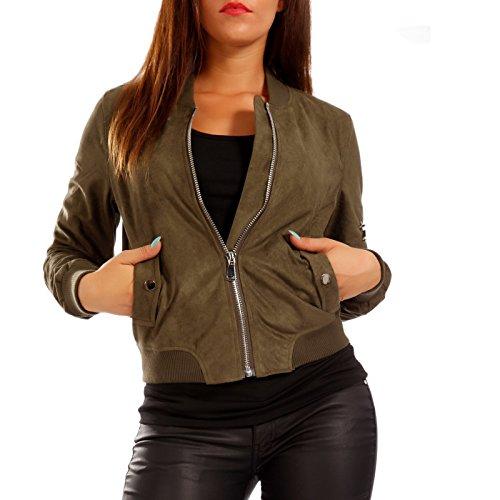 Young-Fashion Damen Bomberjacke Jacke in Wildleder-Optik, Farbe:Khaki;Größe:40