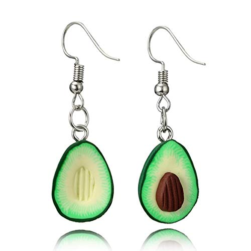 FEARRIN Pendientes a Granel Unisex deDos diseños a Juego con Forma de Aguacate de Fruta Verde Collares Colgantes para Amantes Gilrs Cute Collar 6045-oval-coffee