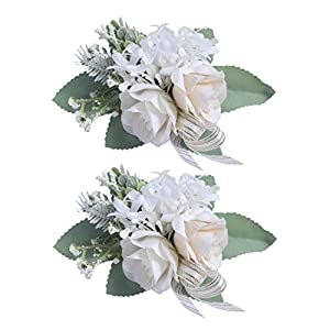Anna Homey Decor Set of 2 Bride Wrist Corsages White Pink Silk Rose Flower Corsage Bracelet with Adjustable Ribbon and Green Leaves Wristband for Bridesmaids in Wedding Prom Party Decoration