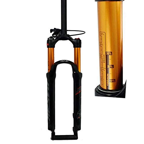 KPZZ Air Mountain Bike Suspension Fork 26 27.5 29 Inch Straight Tube 1-1/8' QR 9mm Travel 100mm Manual/Crown Lockout MTB Forks 1790g Bicycle Cycling,Shoulder,27.5