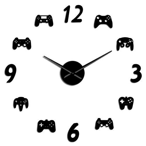 3D creativo sala de estar dormitorio sofá fondo Controladores de videojuegos DIY Reloj de pared grande Reloj de juego Decoración moderna diseño escarchado gigante reloj reloj juego Boys Room Wall Watc