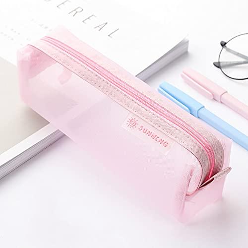 MEYYY Bolsa para bolígrafos con cremallera, bolsa de malla, bolsa para lápices, multiusos, para suministros de oficina, cosméticos, accesorios de viaje, multicolor, rosa, 20,5 x 6,5 cm
