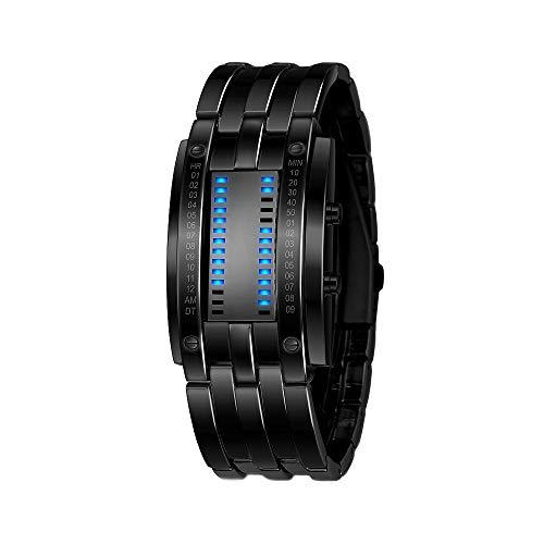 FeiWen Fashion Unico Binario Reloj de Pulsera de Hombre y Mujer Azul LED Luminosidad Rectangular Acero Inoxidable del Bisel Digitales Relojes Calendario, Negro (Hombre)