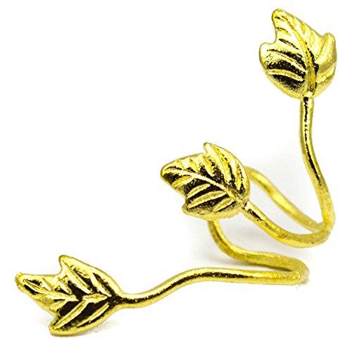 Elixir77UK Color Oro Triple Hoja Ear Cuff De Clip Envolvente Cartílago Superior Hélice Pendiente No Perforado VENDEDOR GB