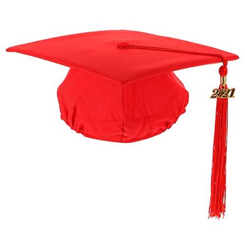 ABOOFAN Gorra de Graduacin Unisex Mate para Adultos con Borla de 2021 para El Colegio Y El Maestro de Solteras (Rojo)