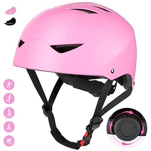 Jim'S Store Casco Bicicleta Infantil Ajustable para Monopatín Skate Patineje Ciclismo y Otros Deportes al Aire Libre(Rosa)
