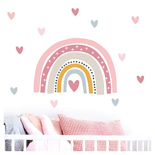 Little Deco Wandaufkleber Regenbogen mit Herzchen I Wandbild 120 x 79 cm (BxH) I Wandsticker Wandtattoo Mädchen Kinderzimmer Deko Sticker Mädels Aufkleber Folie DL483
