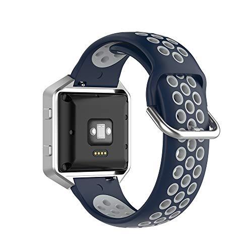 KINOEHOO Correas para relojes Compatible con Fitbit Versa/Versa 2/ Versa Lite/Blaze Pulseras de repuesto.Correas para relojesde siliCompatible cona.(Gris azul medianoche)