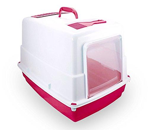 MEDIA WAVE store 10580 Toilette per Gatti Heidi Chiusa Porta Basculante Carboni Attivi 54x39x39cm (Fucsia)