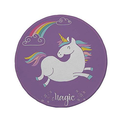 Alfombrilla de ratón Redonda de Goma Antideslizante decoración de hogar y niños de Unicornio Animal mítico con Nubes y Figura de Hadas de la Imagen del Arco Iris Blanco púrpura 7.9