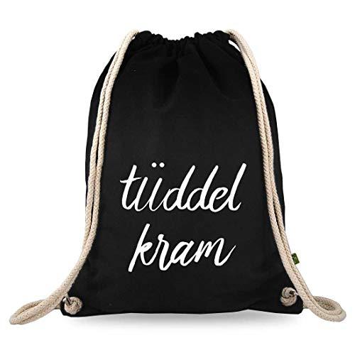 Turnbeutelliebe® Turnbeutel mit Spruch - tüddelkram - Baumwolle schwarz - Sportbeutel - Rucksack - Stoffbeutel - Gym Bag - ca. 12 Liter - 37 x 46 cm