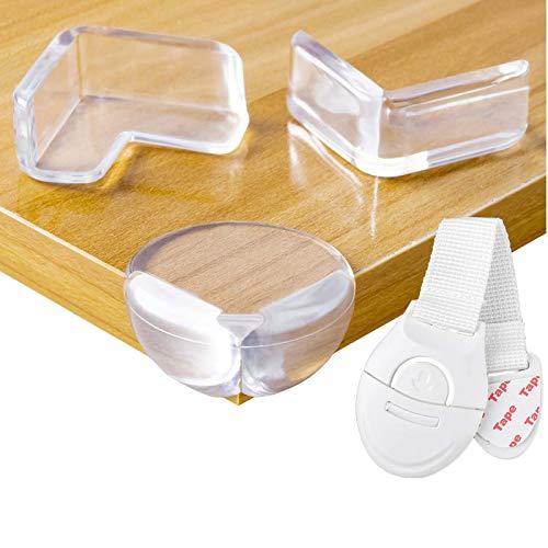 Niviy 20pcs Protector Esquinas Bebes para Niños con 1 Cerradura de Cajón Seguridad Guardias de la Esquina de Muebles Mesas (ángulo Recto + Redondo)