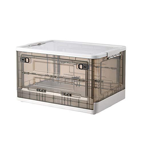 JINTIANSDS Plástico Plegable Caja De Almacenaje con Ruedas,Apilable Transparente Cajas Organizadoras con...