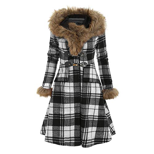 Yowablo Hood Coat Frauen Vintage Stripe Plus Size Plaid Langarm Kunstpelz Lange Linie (3XL,Weiß)