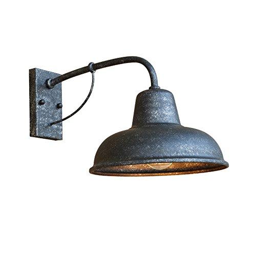 Wall lamp TOYM UK Lámpara De Pared De Hierro Forjado Vintage, Iluminación Exterior Minimalista Estadounidense, para Fachadas Jardín Balcón Al Aire Libre (Color : Silver Black)