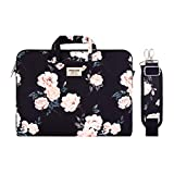 MOSISO Laptop Shoulder Bag Compatible with MacBook Pro 16 inch A2141/Pro Retina A1398, 15-15.6 inch Notebook, Camellia Carrying Briefcase Sleeve with Trolley Belt, Black