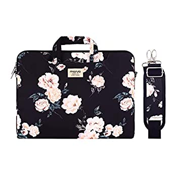 MOSISO Laptop Shoulder Bag Compatible with MacBook Pro/Air 13 inch 13-13.3 inch Notebook Computer Camellia Carrying Briefcase Sleeve with Trolley Belt Black