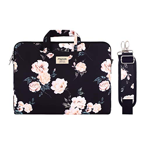 MOSISO Laptop Shoulder Bag Compatible with 2020 2019 MacBook Pro 16 inch A2141, 15 15.4 15.6 inch Dell HP Acer Samsung Chromebook, Camellia Carrying Briefcase Sleeve with Trolley Belt, Black