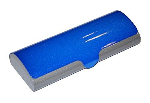 Flaches Brillenetui SUSI aus Aluminum mit Schnappverschluß in Blau-Grau metallic glänzend
