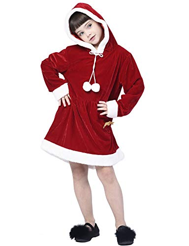 IKALI Santa Kostüm für Kinder, Mädchen Christmas Kleidung Kleid für Weihnachten Santacon