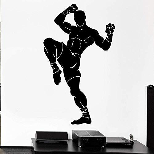Pegatinas De Pared Deporte Atleta Pared Decalación Luchador Artes Marciales Kickboxing Vinilo Extraíble Pegatinas Gimnasio Hombre Habitación Casa Decoración Mural Negro 70X42Cm