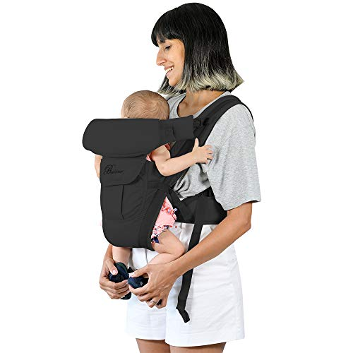 Baby Carrier Front and Back Newborn to Toddler, Multifunctional Adjustable 4-in-1 Kangaroo Infant Carrier Backpack with Pocket Head and Back Support for Mom and Dad, One Size Fit All Season, Black