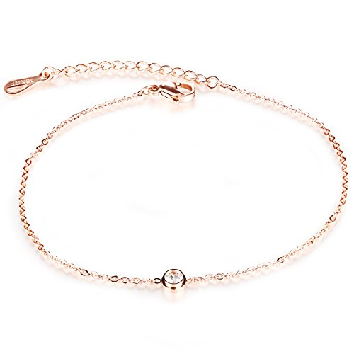 Scorpios Bystar Women Stainless Steel CZ Stone Anklet Fashion Jewellery Exquisite Rose Gold Plated Good Gift
