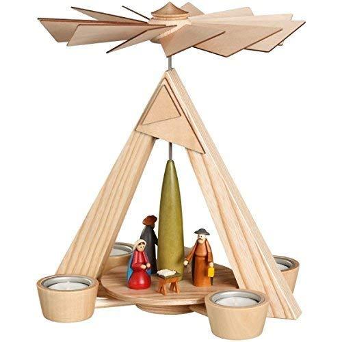 Pirámide de velas de té con diseño de nacimiento de Cristo, multicolor, 24,5 x 29 x 24,5 cm, pirámide de madera con forma de pirámide, semillas de monedas, árbol de Navidad, juego de calor, velas de té, figuras de madera, alas