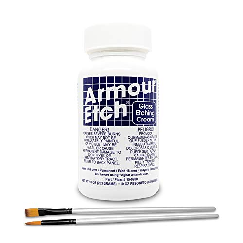 Armour Etch Glass Etching Cream Kit - Create Permanently Etched Designs - 10oz - Bundled with Moshify Application Brushes