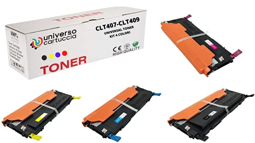 UniversoCartuccia® Toner ric. Compatibili universali per stampanti Samsung Tutte le serie CLP-310, CLP-315, CLX-3170, CLX-3175, CLP-320, CLP-325, CLX-3180-CLX-3185 (kit 4 colori)