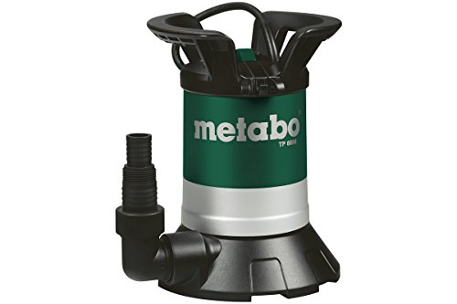 Metabo 250660000 Klarwasser Tauchpumpe TP 6600 | + Winkelanschlussstück mit Multiadapter | Gehäuse Kunststoff / Überlastschutz / Tragegriff (250 W / F.menge 6600 l/h / Druck: 0.6 bar)