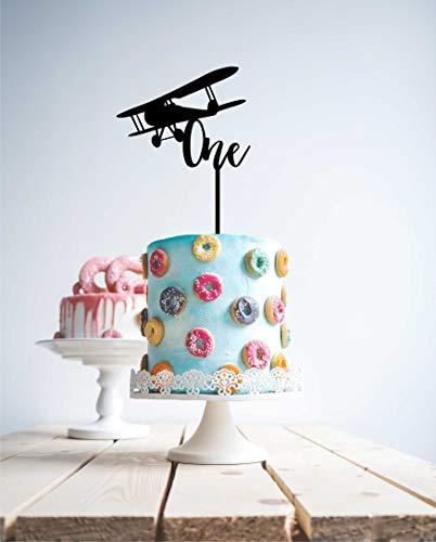 Decoración para tarta de madera personalizable con nombre y edad de un avión personalizado para tarta con nombre de primer cumpleaños