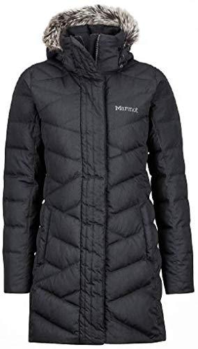 Marmot Varma Damen Daunenjacke mit Kapuze, lang, gesteppt, Schwarz, Größe L