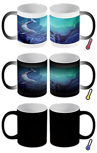 Zaubertasse Farbwechseltasse Kaffeebecher Tasse Becher Latte Cappuccino Espresso Fantasie Bild Motiv Meerjungfrau Delphin
