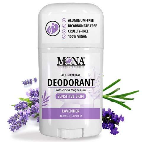 MONA BRANDS All Natural Deodorant for Sensitive Skin | Baking Soda free, Aluminum free, with Magnesium and Zinc | For Women & Men | Plant-based, Vegan, Non-GMO, Gluten & Cruelty free | LAVENDER