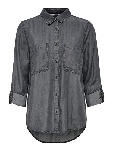 ONLY Damen Jeanshemd Lockeres 40Dark Grey Denim