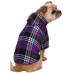 Casual Canine Everest Plaid Fleece Hoodie, X-Large, Purple