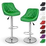 TRESKO Set de 2 tabourets de Bar Vert, Hauteur réglable et Rotation à 360°...