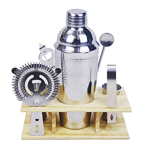 Cocktail Shaker Set Bartender Kit with Stand Professional Bar Accessories and Tools Set Stainless Steel Drink Mixer (7pcs750ml)