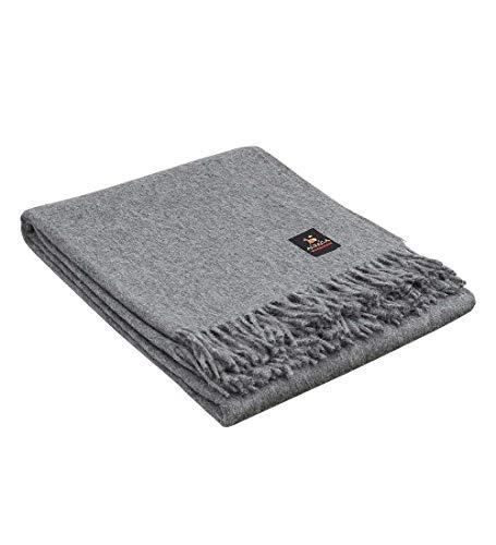 Superfeine Alpakawolle Überwurfdecke – leichte Alpaka-Merinowolle Überwurf Decken für drinnen oder draußen | weiche peruanische Alpaka-Decke Wolldecke einfarbig 182,9 x 152,4 cm (zartgrau)