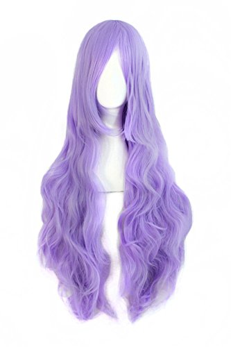 MapofBeauty 32'/80cm Fashion Long Curly Cosplay Wig (Light Purple)
