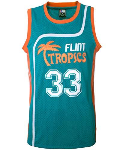 MOLPE Moon 33 Flint Tropics Basketball Jersey and Shorts, Halloween Costume, 90S Hip Hop Clothing (33-Green, XL)