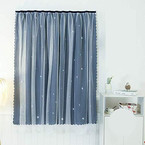 LHQ-HQ Cortinas niños Blackout cortinas for el dormitorio pegajosos aislada termal ahueca hacia fuera la estrella de habitación cortinas cortinas for la sala (Color: azul oscuro, tamaño: W1.8m x h1.5m