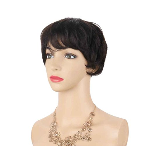 Xuanhemen Tissu à la main tissé à la main en tissu féminin Cheveux réels perruque courte