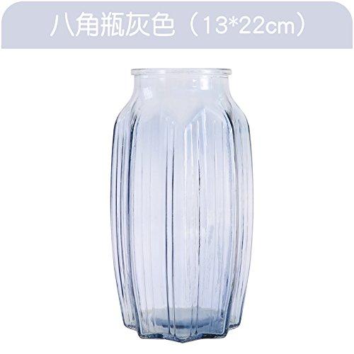 XXAICW Transparente Wasserhyazinthe Vase kleine Glasvasen Glas Flasche Vase Hydrokulturpflanzen Blumentopf Narzissen Blume , Achteckige Flasche grau , Medium