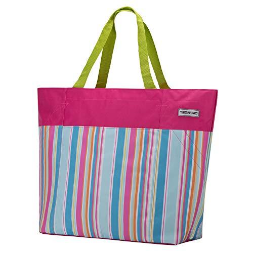 anndora XXL Shopper pink Limette - Strandtasche 40 Liter Schultertasche Einkaufstasche