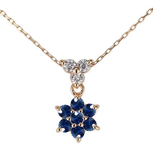 (リュイール)ネックレス レディース 人気 サファイア 9月誕生石 18金 k18ピンクゴールド 花 フラワー ダイヤモンド