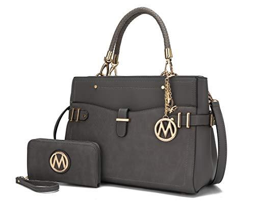 Mia K Collection Crossbody Bag for Women's Handbag: PU Leather Top-Handle Satchel, Wristlet Wallet Purse Set Charcoal Grey
