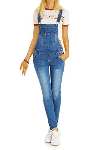 bestyledberlin Damen Latzhosen, Jeans-Trägerhosen, Slim Fit Denim Overalls j12p 36/S